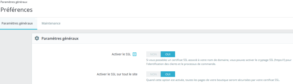 Paramètres SSL Prestashop